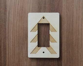 Wood Laser Cut Chevron Light Switch Plate / Cover (rocker)