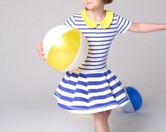 back to school dress, peter pan collar dress, toddler girl jersey dress, striped cotton dress, girls dress size 8,10, 100% organic cotton