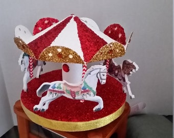 Red, White and Gold or Other Colors Carousel Cake topper or Party Centerpiece
