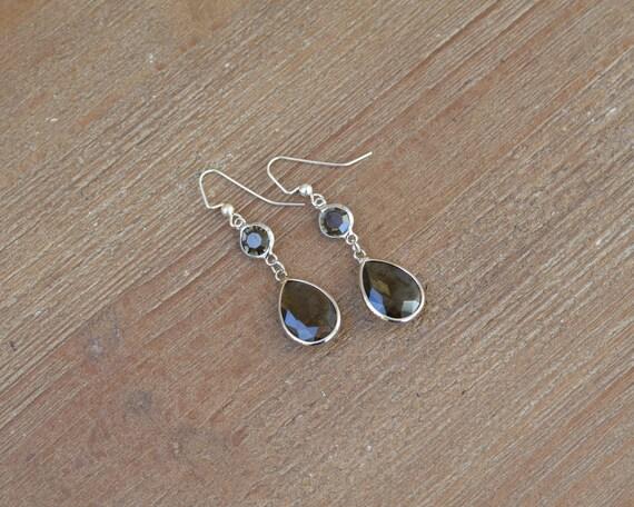 Silver Teardrop Earrings - Silver Dangle Earrings - Glass Drop Earrings - Rhinestone Dangle Earrings - Gray Earrings - Bridesmaid Earrings
