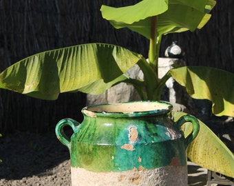 Antique Heavy and large Confit Pot with Rare Green Glaze , French old Pottery , circa 1900