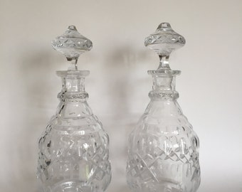 Vintage Art Deco Etched Crystal Scotch & Rye Decanters