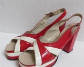 1970's Luciano Red And White Criss Cross Pumps With Ankle Strap - Size: 9.5N (095)