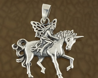 Sterling Silver Fairy Riding Unicorn Pendant