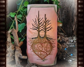 Loving Heart Trees Embroidered Candle Wrap For LED Flameless Pillar Candles.
