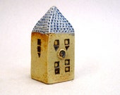 Miniature House, Yellow Square House ,Fine Art Ceramics,  Ceramic Sculpture , Collectible House