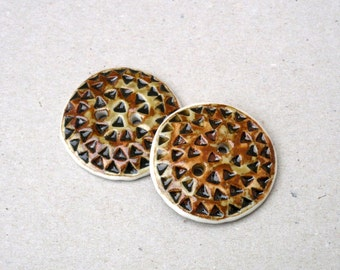 Porcelain Buttons , Honey And Brown  Buttons , Triangles ,Crafting Supplies , Sewing Supplies