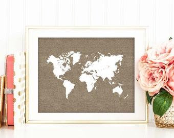 Printable Rustic Decor, Burlap World Map Print, Travel Poster, Nursery Decor, Digital File, Wedding Decor, World Map Silhouette