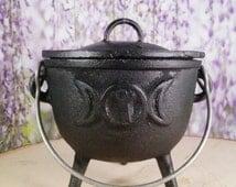 Cauldron - Mini Cauldron - Mortar - Spice Bowl - Iron Bowl - Triple Moon Goddess - Wiccan - Magic Tools