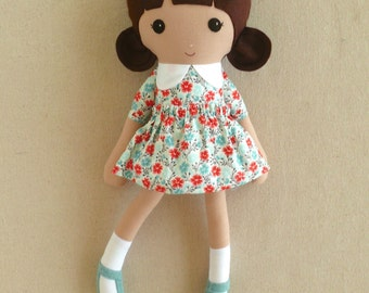 FabricDoll Rag Doll Brown Haired Girl in Sweet Blue and Red Calico Print Dress