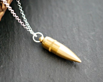 Brass bullet necklace, bullet jewelry, long sterling silver chain, gamer gift, weapon, military, army, mixed metals, breathless