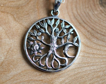 Tree of life necklace, sterling silver tree pendant, gift for husband, sun charm, moon, family tree, symbolic jewelry - human nature