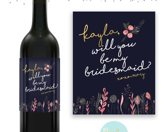 Navy & Gold Bridesmaid Wine Label - Floral - Will You Be My Bridesmaid - Maid of Honor
