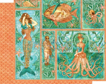 """Graphic 45 """"Voyage Beneath the Sea - Mermaid Melody"""" 12 x 12 Double-sided sheet ***Pre-Order Now***"""