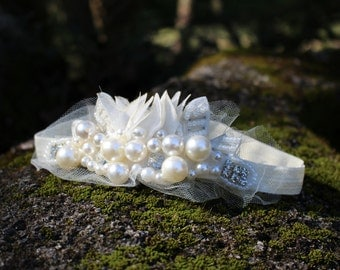 Pearl Crown Headband,  Toddler Crown Boho Chic, Baby Photo Prop headpiece, Princess Crown Headband