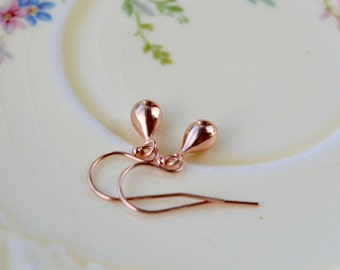Rose Gold Teardrop Earrings, Tiny Rose Gold Earrings, Dainty Earrings Rose Gold Jewellery, Rose Gold Drop Earrings, UK Mothers Day Gift, Mom
