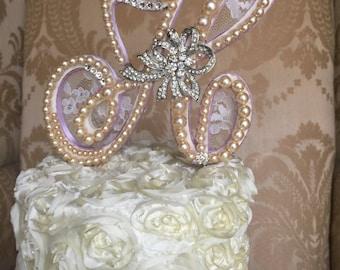 custom pearl monogram cake topper H monogram cake topper custom cake topper