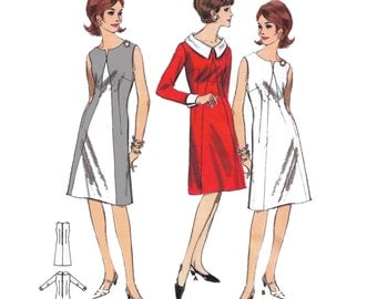 """1965 Fitted  A-line Dress, Inverted V Front Seam, Slit Front Neckline, Detachable Collar/Cuff, Use to Color Block, Butterick 3734, Bust 34"""""""