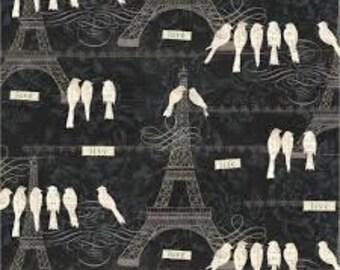 Paris Fabric, Eiffel Tower Fabric, Bird Fabric, Paris Charm, Love Paris, Bird on a Wire, Black Quilting Cotton, By the Half Yard
