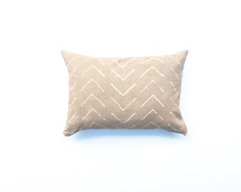 Hand dyed Tribal Pattern Pillow Cover in Tan Pillow Cover Tan Throw Pillow Decorative Pillow cover 14 x 20 Cushion cover Safari Grey