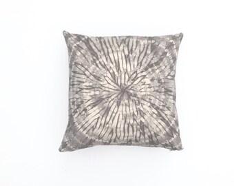 Sale: Grey Throw Pillow Shibori | Gray Pillow Grey Pillow Cover 20 x 20 Boho Pillow Neutral Pillow Shams Gray Cushion cover Sofa Pillow