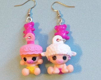 Crumbs Sugar Cookie and Pillow Featherbed - Lalaloopsy Baby Charm Earrings with Pink Teddy Bear Beads