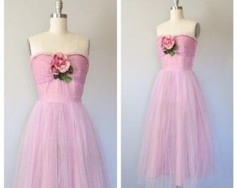50s party dress size medium / 50s tulle dress / vintage party dress