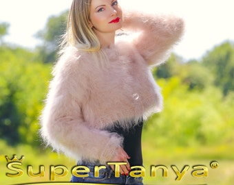Boutique Hand knitted fuzzy mohair sweater bolero in beige by SuperTanya