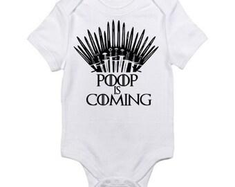 Game Of Thrones  / Poop Is Coming Funny Bodysuit / One Piece / Romper / Onesie / Game of Thrones Joke Boy Girl Shower Gift