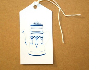 French Vintage Coffee Pot Gift Tags - Set of Six Tags
