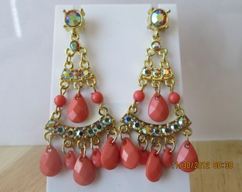 Gold Tone Clear Crystal Post/Stud Chandelier Earrings with Coral Beads and Clear Rhinestones