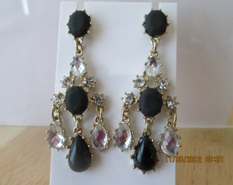 Post/Stud Dangle Earrings with Black and Clear Crystal Beads on Gold Tone Frames