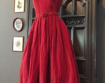 50s Lanz Striped Velvet Party Dress