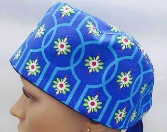Surgical Scrub Cap - Flowers on Royal Blue Scrub Hat - Flowers scrub hat