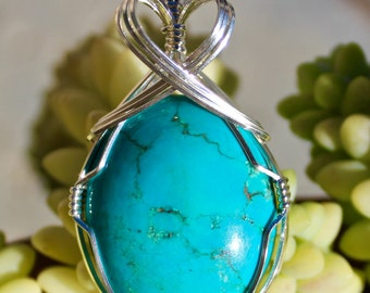 Turquoise Calo Howlite Stone Pendant, Turquoise Howlite Pendant, Argentium Sterling Silver Wire Wrapped, Handmade Jewelry Necklace