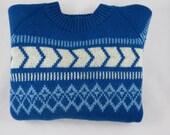 Vintage Wool Ski Sweater - Italian Wool Sweater - Retro Ski Sweater - Vintage Vail Patch - Blue Ski Sweater - Free Shipping - 1MTT16