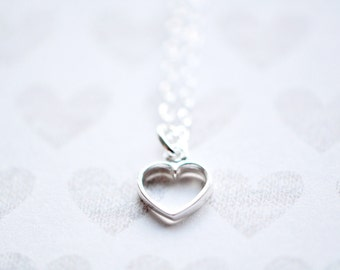 Heart Necklace - Tiny Heart Pendant - Sterling Silver Heart Necklace - Valentines Day Jewelry - Gift For Women
