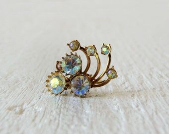 Unique Rhinestone Cocktail Ring/Whimsical/Romantic/Retro Chic/Vintage Glam/Re-purposed/OOAK/Art Deco/Boho Chic/Victorian/Chic Gold Wire Ring