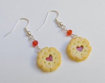 Food Jewelry,  Heart Biscuit Earrings, Heart Cookie Earrings, Miniature Food Earrings, Miniature Food Jewelry, Mini Food ,Kawaii Earrings