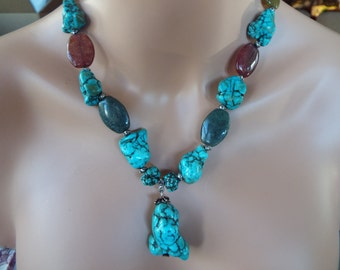 large Chunky turquoise nugget Y necklace with large quartz beads  Southwestern