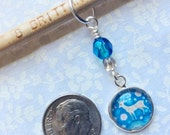 Graceful Woodland Deer,Dew Drops* Single Stitch Marker, Fits up to US 10 (6.00 mm) knitting needles