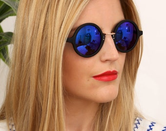 Vintage Style Round Black Blue Mirror Sunglasses