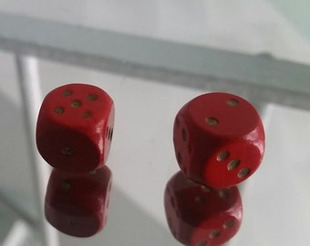 Vintage Pair of Wooden Red Dice / Die with Gold Detail /  1960s / Casino / Craft