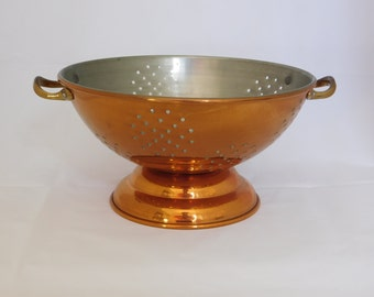 Copper Colander With Brass Handles, Rustic Kitchen, Kitchen Supplies, Farm House