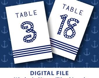 Printable table numbers Nautical wedding decor Nautical table numbers Striped Blue Rope 4x6 table numbers 1-30 Destination Wedding DIY Bride