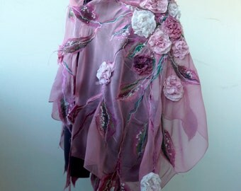 """Nuno felted  pink scarf shawl  felting wool luxury floral romantic tippet stole with roses """"Woman in Love"""""""