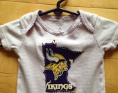 Minnesota Vikings Baby Onesie ~ Size 6 Months ~ One-of-a-Kind ~ Upcycled ~ Purple & White Stripe with MN Vikings Appliqué ~ Perfect Gift!!