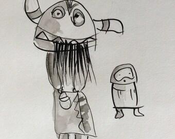 Ogre Kachina figure with child. Original drawing. Outsider art.