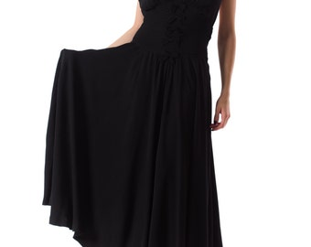 Vintage 1930s Silk Backless Halter Dress Size: XS/S