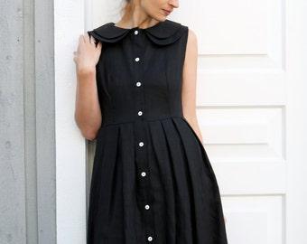 Black Linen Dress - Double Collar Dress - Full Pleated Skirt Dress -  Linen Dress - Handmade by OffOn